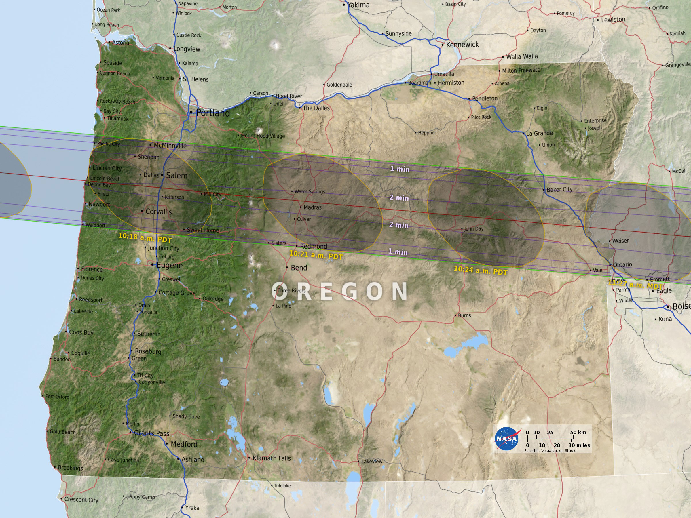 2017 Eclipse Oregon Map Solar Eclipse l 45th Parallel | Turf Merchants